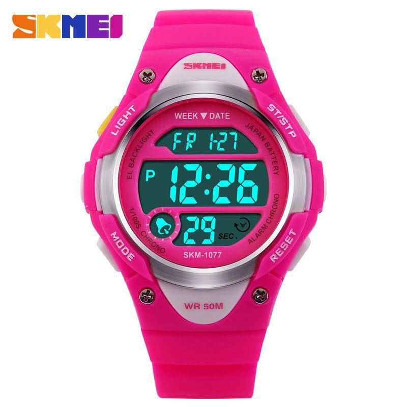 2016 Children Watch Outdoor Sports Kids Boy Girls LED Digital Alarm Stopwatch Waterproof Wristwatch Children's Dress Watches