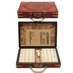 Top Kualitas Mah-jong Permainan Kartu 144 Ubin Set multi-warna Portabel Mahjong Antik Langka Cina Mainan Dengan bambu Kotak Hadiah Partai