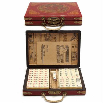 Top Quality Card Games 144 Tiles Mah-Jong Set Multi-color Portable Vintage Mahjong Rare Chinese Toy With Bamboo Box Party Gifts