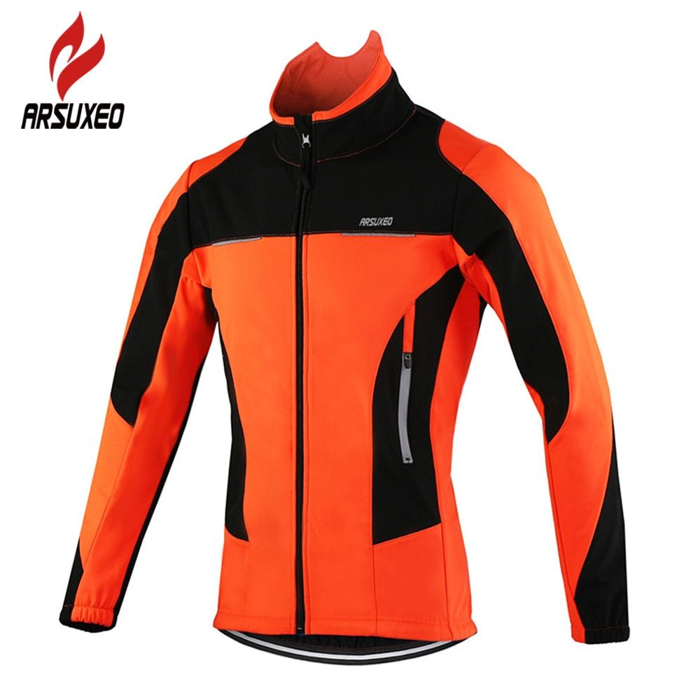ARSUXEO Fleece Thermal Cycling Jackets Autumn Winter <font><b>Warm</b></font> Up Bicycle Clothing Windproof Wind Coat MTB Bike Jerseys