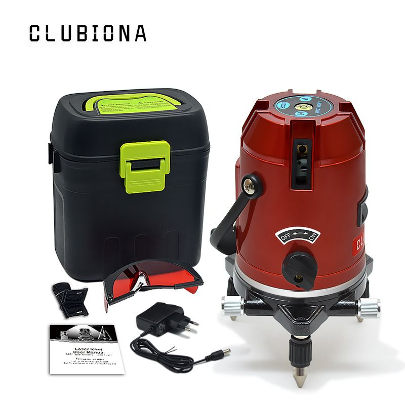 CLUBIONA 5 lines 6 points 360 degrees rotary LD 635nm outdoor mode - receiver and tilt slash available auto line laser level