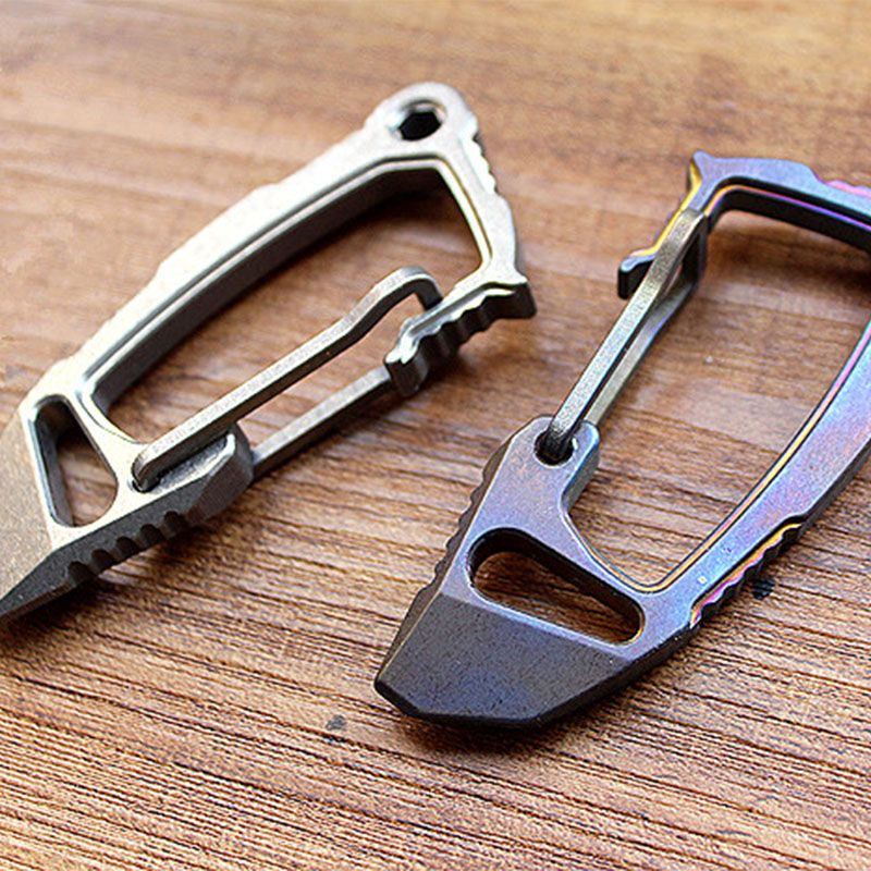 1PC Carabiners Buckles Titanium Alloy EDC Defense Keychain Fast Buckle Crowbar Opener Multi Tool Accessories Camping Equipment