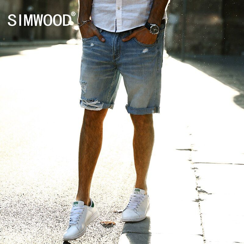 SIMWOOD 2018 Summer New Casual Denim Shorts Men Jeans 100% Pure Cotton Hole Ripped Brand Clothing Knee Length Male ND017001