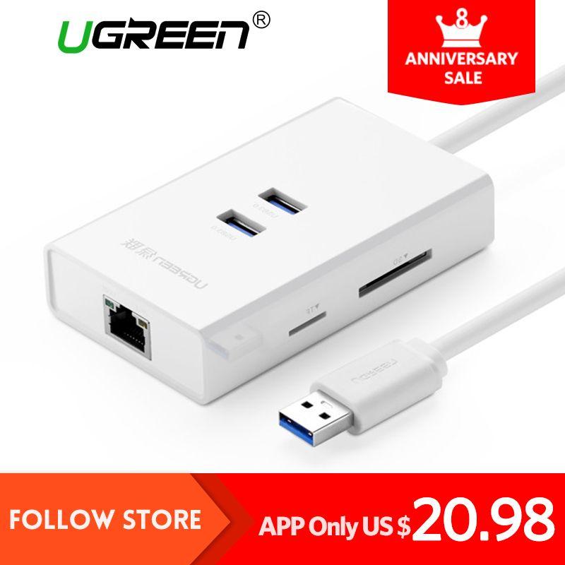 Ugreen 2 puertos USB 3.0 Hub con lector de tarjetas SD TF USB Ethernet adaptador de LAN RJ45 Gigabit tarjeta de red para ventana Mac hubs USB 3.0