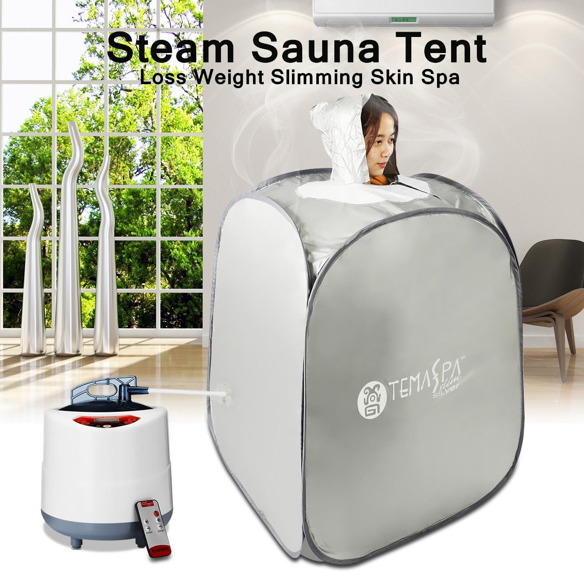 2L Portable Indoor Foldable 220V 60Hz 1000W AU Plug Steam Sauna Room Tent Loss Weight Slimming Skin Spa For Personal Health Care