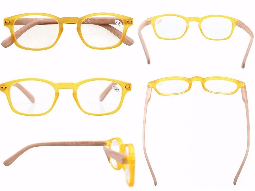 5-pack Spring Hinge Wood-grain Printed Arms Reading Glasses Sun Readers +0.50---+4.00 KM166-200