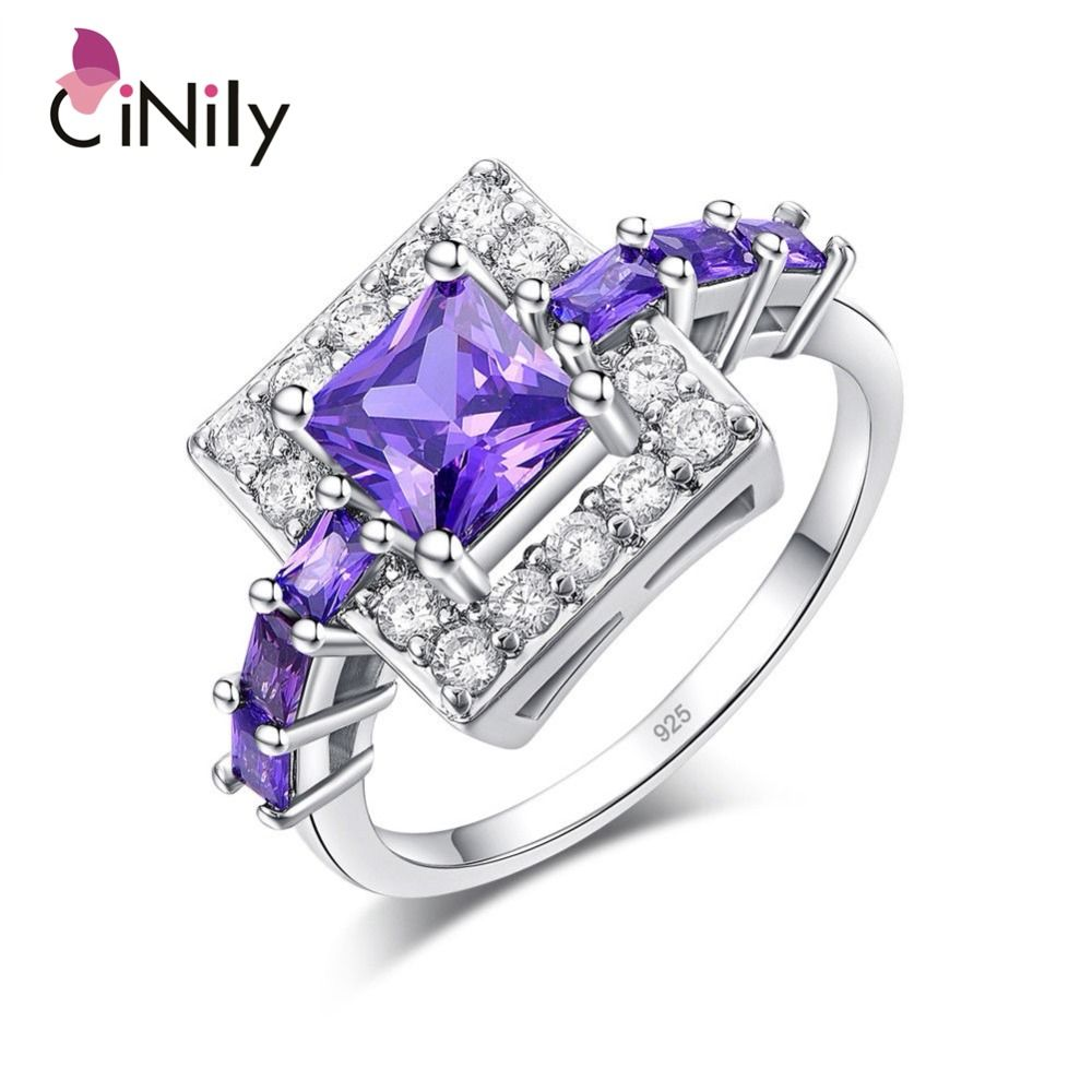 CiNily Silver Plated Princess Cut Purple Zircon Square Shape for Wholesale Women Jewelry Engagement Gift Ring Size 6-10 NJ11056