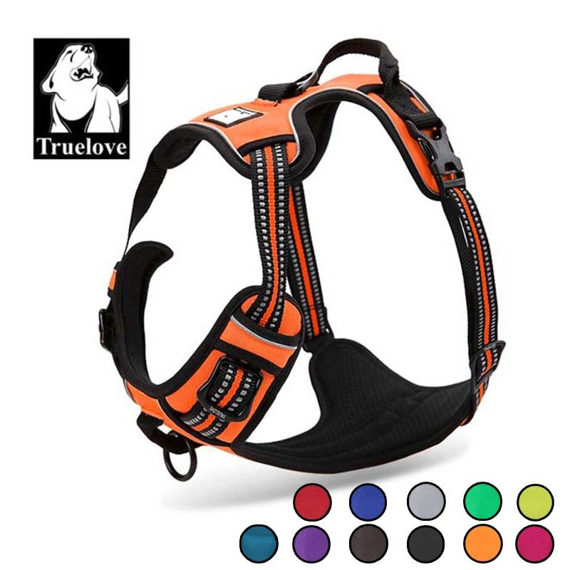 Truelove Reflective Nylon Large pet Dog Harness All Weather Service Dog Ves <font><b>Padded</b></font> Adjustable Safety Vehicular Lead For Dogs Pet