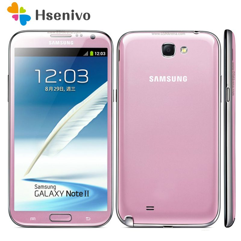 100% Original Unlocked Samsung Galaxy Note 2 II N7100 N7105 Mobile Phone 5.5 Quad Core 8MP GPS WCDMA Refurbished Smartphone