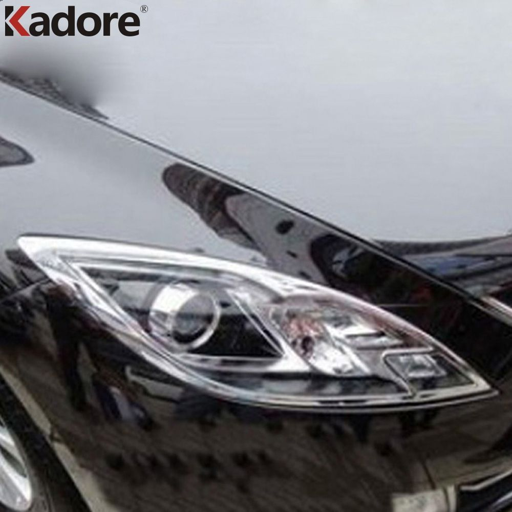 For Mazda 6 2009 2010 2011 2012 Sedan 4Dr ABS Chrome Front Lamp Cover Headlight Trim Shells Auto Hoods Assemby Accessories 2pcs