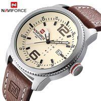 2017 marca de lujo NAVIFORCE hombres relojes deportivos militares hombres cuarzo fecha reloj hombre Casual cuero reloj de pulsera reloj Masculino