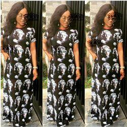 2018 Baru Gaun Afrika Dashiki Marilyn Wajah Cetak Elastis Besar Gaya Dashiki Gaun Panjang untuk Wanita (Ml #)