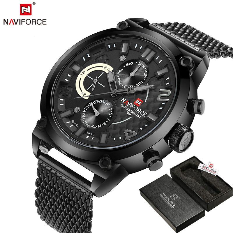 NAVIFORCE Original Luxury Brand Stainless Steel Quartz Watch Men Calendar Clock Sports Military WristWatch Relogio Masculino