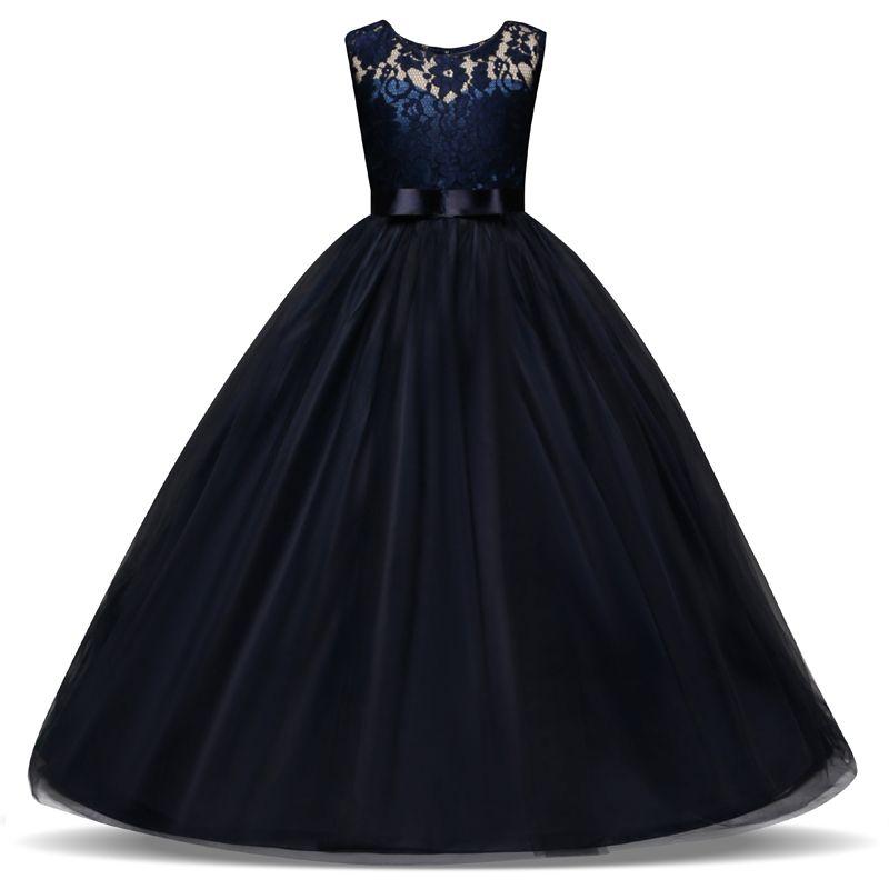 5-14 ans enfants robe pour les filles de mariage Tulle dentelle longue fille robe élégante princesse fête Pageant robe formelle pour les enfants adolescents