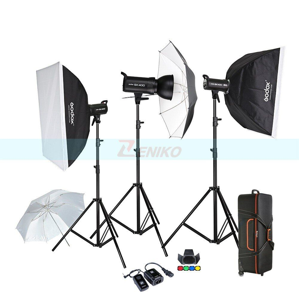 Free DHL Godox SK400 3 x 400W Compact Photo Studio Flash Lighting set Digital Photography Strobe Light & Softbox Portrait Kit