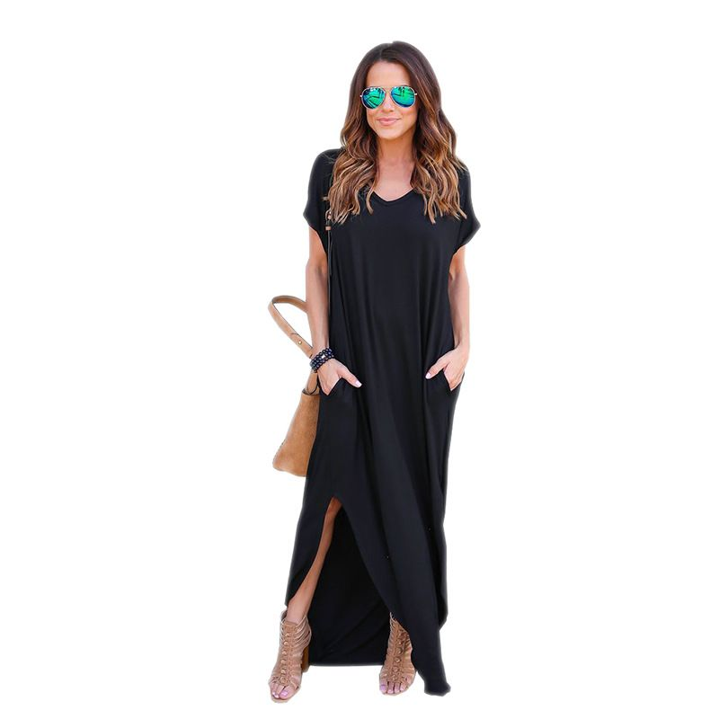 Women Dresses Fashion Summer Boho Beach Dresses Split Short Sleeve Casual Dress Elegant Maxi Dress Vestido LJ9223E
