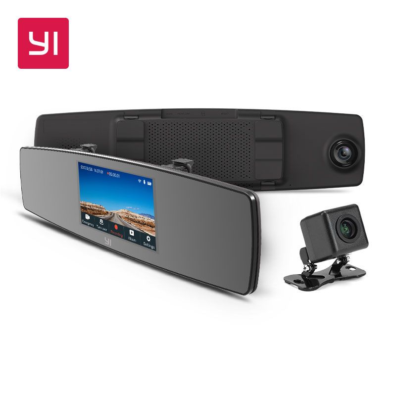 YI Mirror Dash Cam Dual Dashboard Camera Recorder Touch Screen Front Rear View HD Camera G Sensor Night Vision Parking Monitor