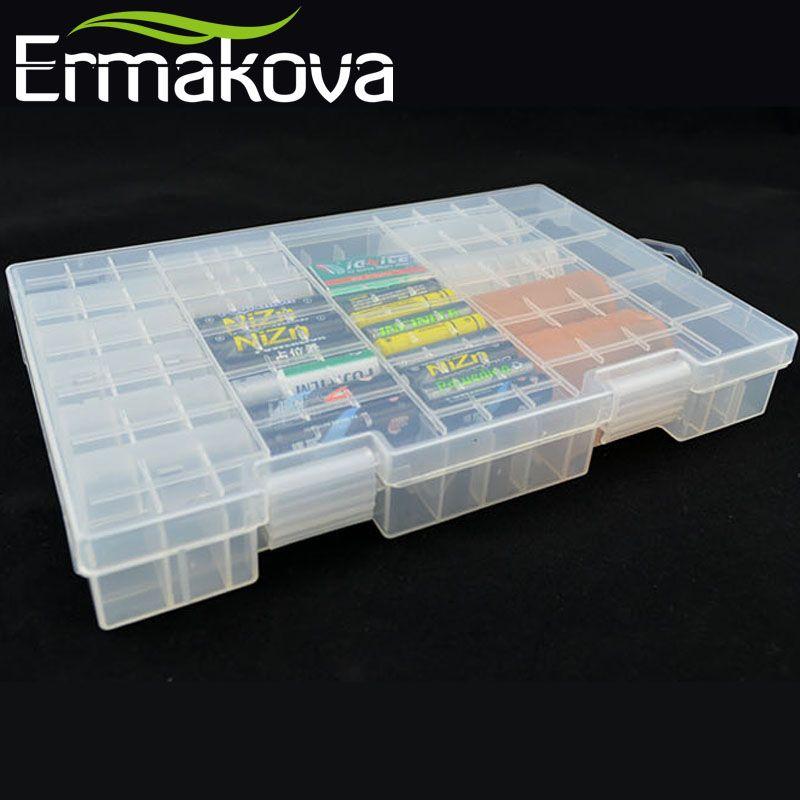 ERMAKOVA 27.5cm en plastique dur Transparent organisateur de batterie batterie boîtier conteneur batterie porte-boîte de rangement AAA AA C D 9V
