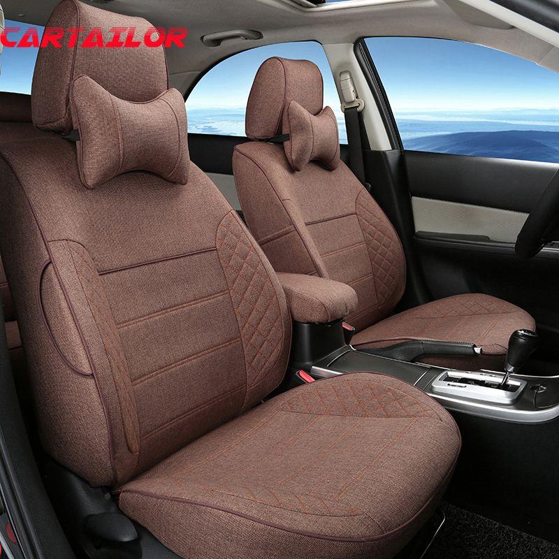 CARTAILOR Autos Sitzbezüge für Cadillac XT5 Abdeckung Auto Sitz Unterstützt Flachs Autos Sitze Set Custom Fit Innen Zubehör
