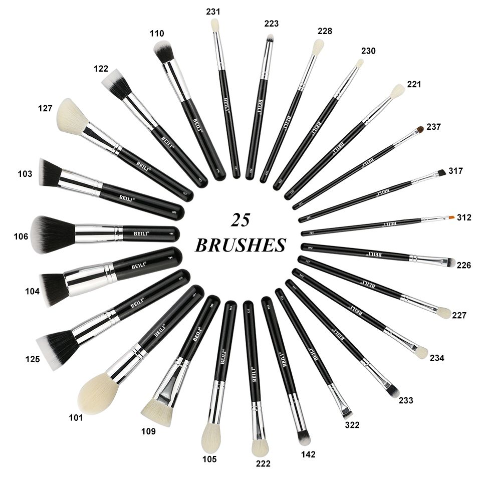 BEILI Complete Professional 25 pieces Foundation Powder Concealer Eyes hadow Makeup Brush set