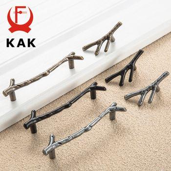 KAK De Mode Branche D'arbre Meubles Poignée 96mm 128mm Noir Argent Bronze Armoires De Cuisine Poignées de Tiroir Boutons Poignées de Porte matériel