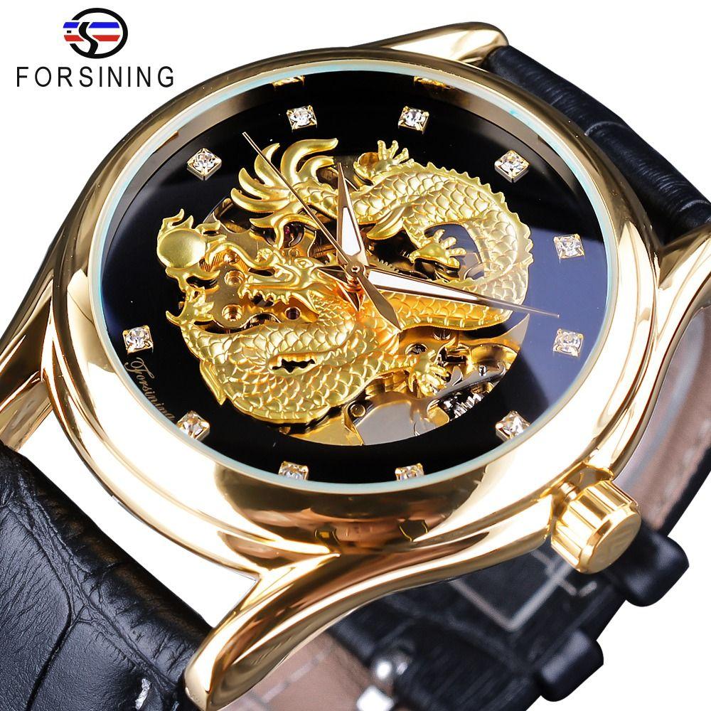 Forsining Diamond Display Dragon Golden Display Luminous Hand Transparent Men Watch Top Brand Luxury Waterproof Mechanical Watch