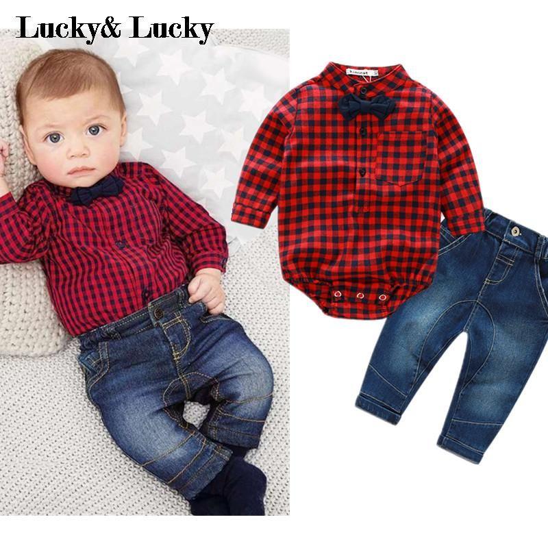Les nouveau-nés vêtements nouveau rouge plaid barboteuses shirts + jeans bébé garçons vêtements bebes vêtements ensemble
