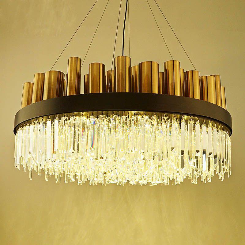 Post-modern chandelier living room stainless steel bronze simple atmosphere art Nordic lantern villa restaurant crystal lamp