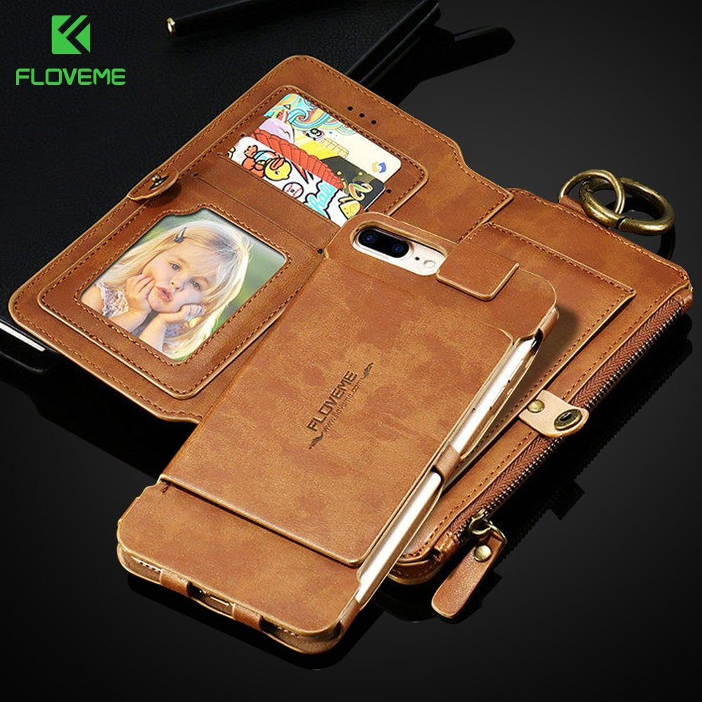 FLOVEME Leather Case For Samsung <font><b>Galaxy</b></font> S8 S9 Plus S7 S6 Edge Note 3 4 5 7 8 9 Wallet Cover For iPhone X 8 7 6S 6 Plus 5S Cases