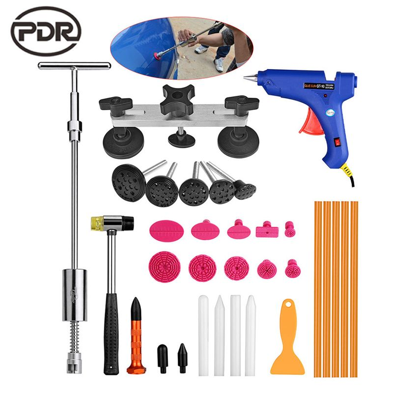 PDR Outils Voiture Dent De Réparation Kit De Réparation De Carrosserie Débosselage Dent Puller Kit Tirer Pont Slide Hammer L'UE Colle gun Outils À Main