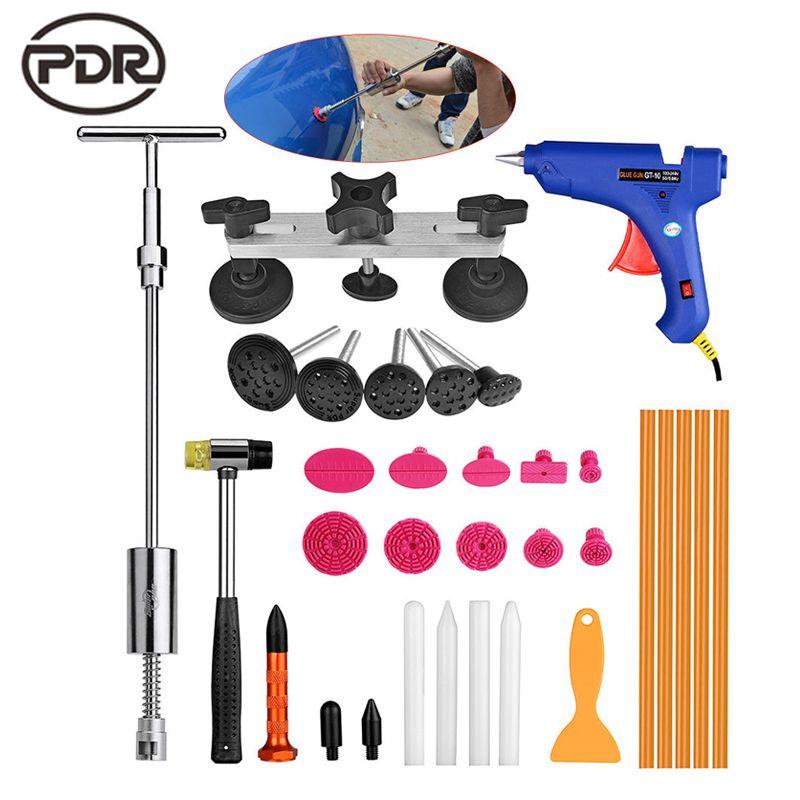 PDR Tools Car Dent Repair Car Body Repair Kit Dent Removal Dent Puller Kit Pulling Bridge Slide Hammer EU Glue Gun Hand Tools