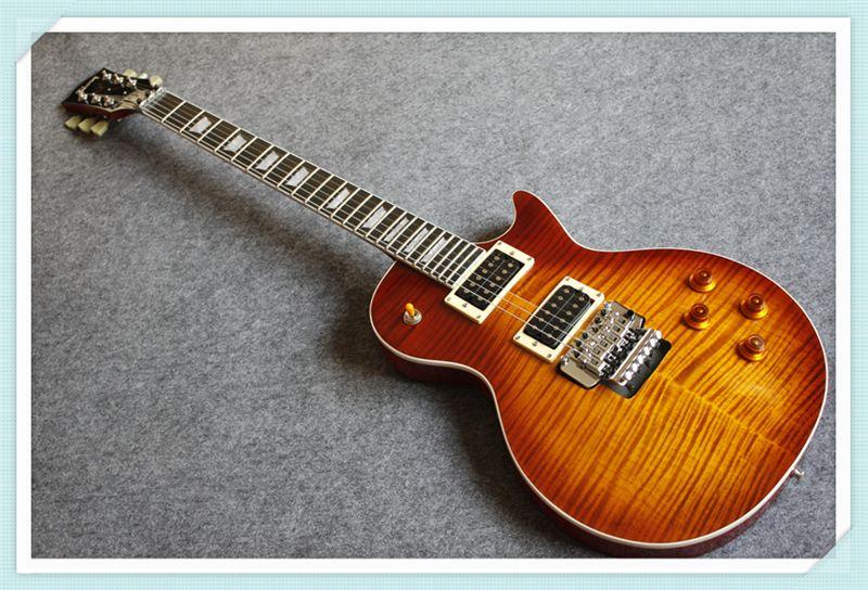New Arrival Custom 24 Vintage Sunburst LP Standard Electric Guitar OEM Floyd Rose Tremolo One Piece Neck & Body