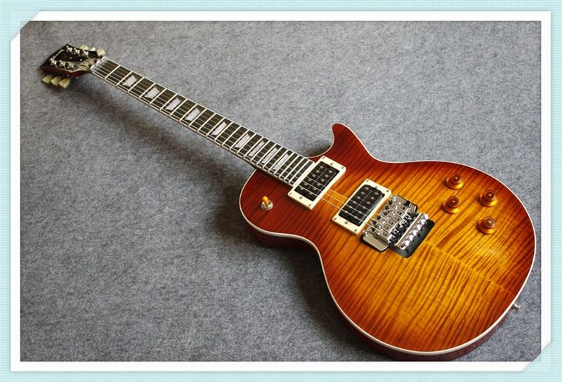 New Arrival Custom 24 Vintage Sunburst LP Standard Electric Guitar OEM Floyd Rose Tremolo One Piece Neck & Body