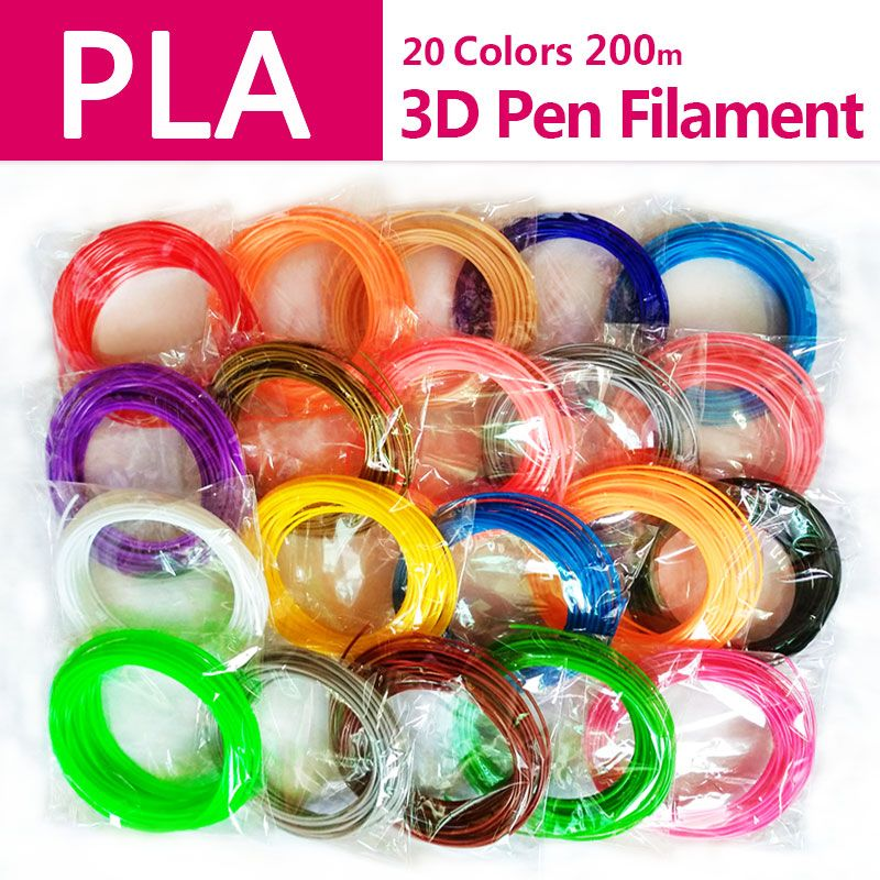 Qualité produit pla 1.75mm 20 couleurs 3d pen filament pla 1.75mm pla plastique abs filament 3d filament 3d imprimante pla 3d stylo fil