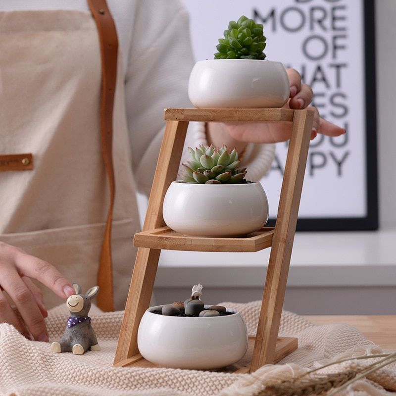 1 Set Modern Minimalist White Ceramic Flowerpot Succulent Plant Pot 3 Bonsai Planters with 3-Tier Bamboo Shelf Home Garden Decor