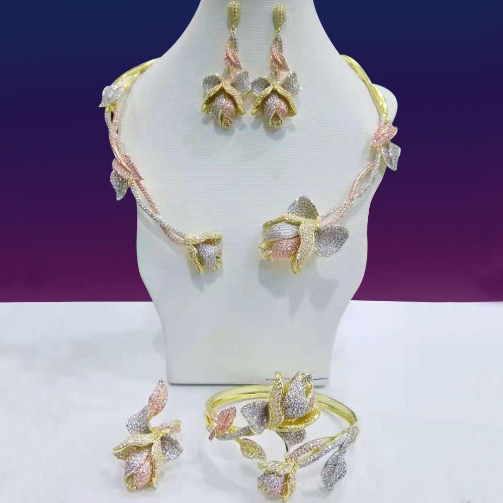 GODKI New Trendy Luxury Leaf Flowr African Necklace Earring Set Jewelry Set For Women Wedding Zircon CZ Dubai Bridal jewelry Set