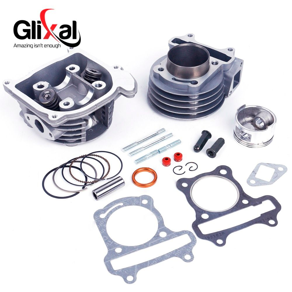 Glixal GY6 100cc 50mm Scooter Engine Big Bore Cylinder Rebuild Kit Cylinder Head assy 4-stroke 139QMB 139QMA Moped (64mm Valve)