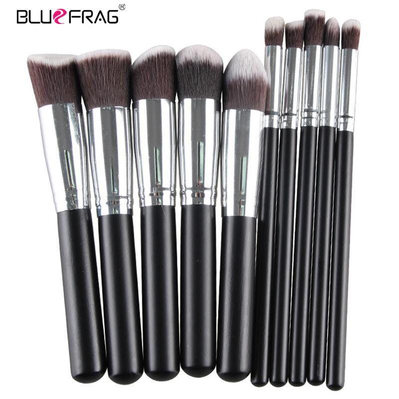 BLUEFRAG Pro pinceaux De maquillage outils Pinceis De Maquiagem bois métal synthétique Palette De cheveux pour pinceau De maquillage 10 pièces/ensemble BLMB09212