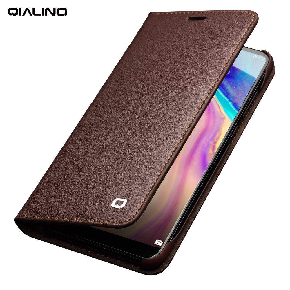 QIALINO Business-stil Kartensteckplatz-abdeckung für Huawei Ascend P20 Luxus Echtem Leder Brieftasche Flip Fall für Huawei P20 Pro