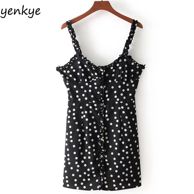 2018 Women Vintage Polka Dot Sling Dress Sexy Sleeveless Front Button Boho Beach Summer Dress Mini vestidos <font><b>mujer</b></font> DDOM8009