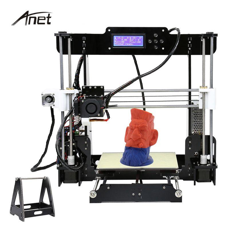 Анет Высокая точность 3D-принтеры auto level и нормальный A8 impresora 3D DIY Kit imprimante 3D акрил металла 8 ГБ SD карты 10 м нити