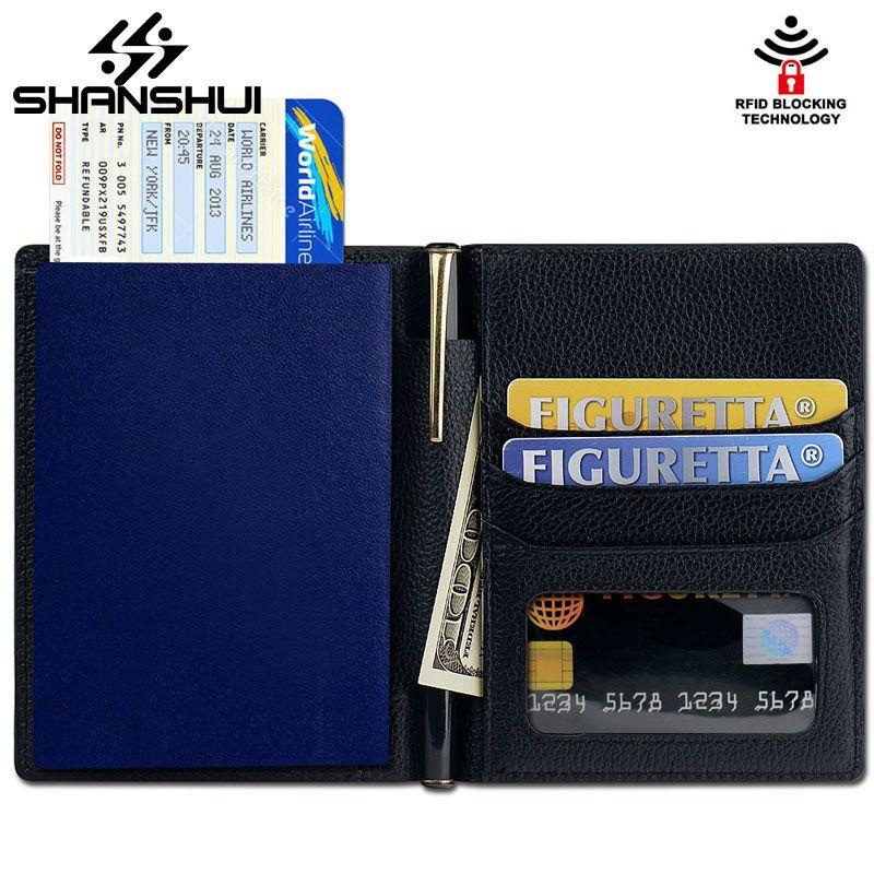 SHANSHUI 2017 Cuero Genuino de la Manera de Viaje Bolsa de Pasaporte Pasaporte Tapa de la Tarjeta ID Carteras Carteira Billetera Funda protectora