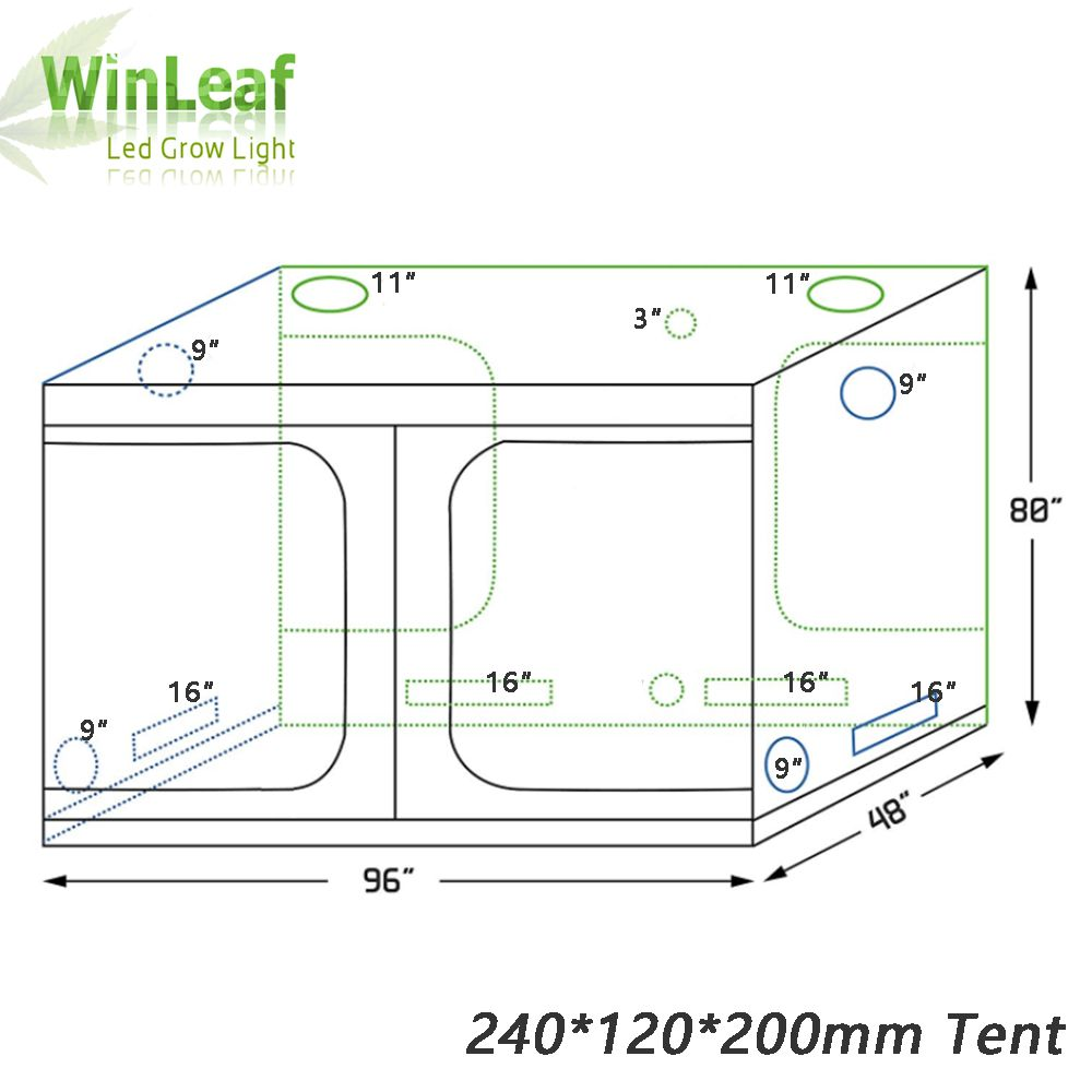 grow tent indoor Hydroponic greenhouse 240*120*200 mm Room Box Plant Growing, Reflective Mylar Non Toxic Garden Greenhouses