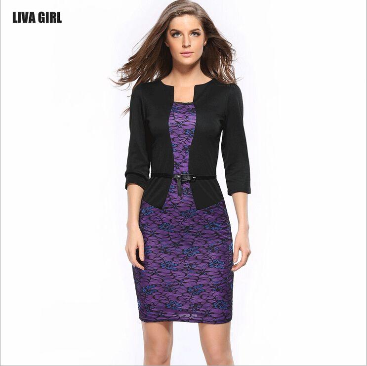 2017 Women Spring Fashion false two-piece pencil Bodycon Lace Ladies Office Dress Plus size Floral Print Dresses With Belt