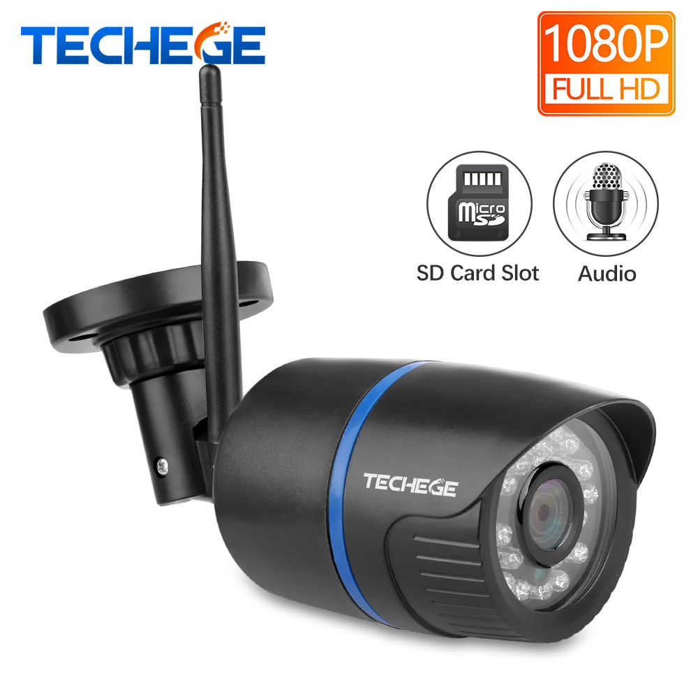 Techege WIFI IP Caméra Enregistrement Audio 1080 P HD Réseau 2.0MP caméra sans fil Onvif vision nocturne caméra imperméable TF De Stockage en Nuage