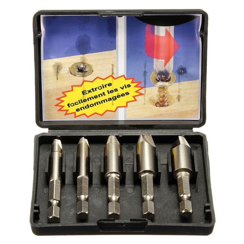 Hakkin 5Pcs Screws Remove Demolition Tools Screw Extractor Drill Bit Set Kit Drill Bit Power Tools Accessories Screw Extractor