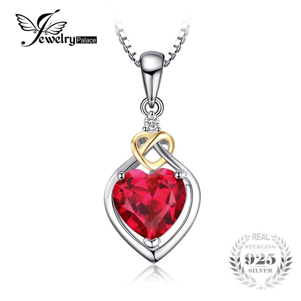JewelryPalace 2.5ct Rubí Creado del Nudo de Amor Del Corazón Colgante 18 K Oro Amarillo 925 Plata Esterlina Marca de Joyería Fina Sin un cadena