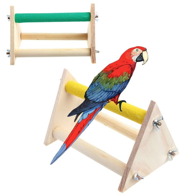 20cmx14cm Fun Pet Parrot Bird Perch Stand Play Toys Gym Wooden Activity Table Playstand Colorful Entertaining Parrot Toys