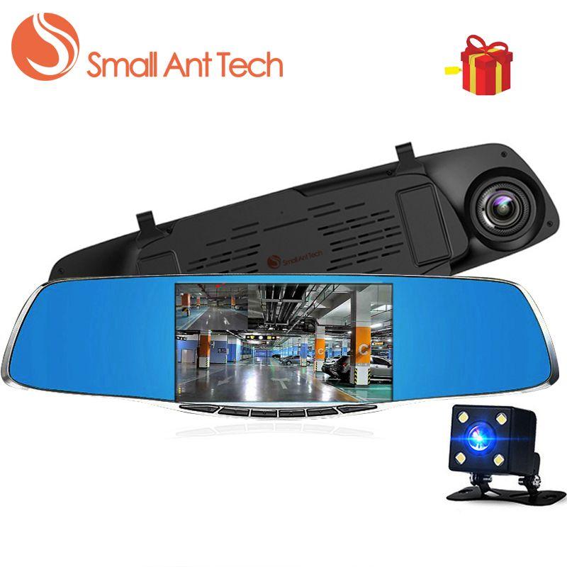 SmallAntTech Dash Cámara Del Coche Dvr Espejo Retrovisor Hd 1080 P 5 Pulgadas de Vídeo Digital Grabadora de Doble Lente Registrador dash cam