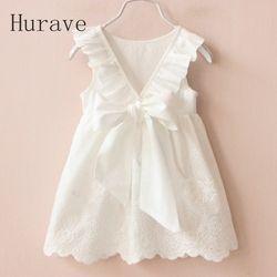 Hurave Gaun Putih Solid Gaun 2019 Musim Panas Pakaian Anak-anak Gaun untuk Gadis Vestido Bayi Gadis Pakaian